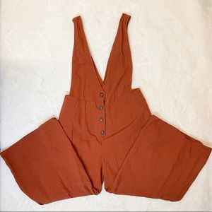 Sienna Sky Cropped Orange Overalls Size Medium